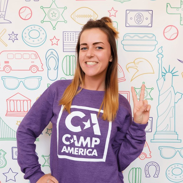 CA Purple Sweater with Large Square Outline Print